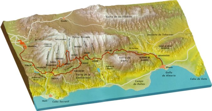Carte de l'Alpujarra, Grenade et Alméria (Andalousie)