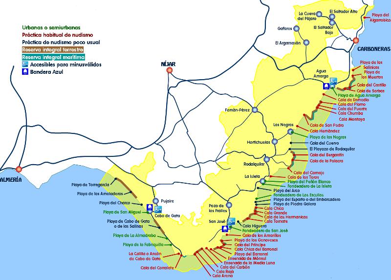 Carte Littoral Andalousie.Cabo De Gata Almeria Andalousie Visiter L Andalousie